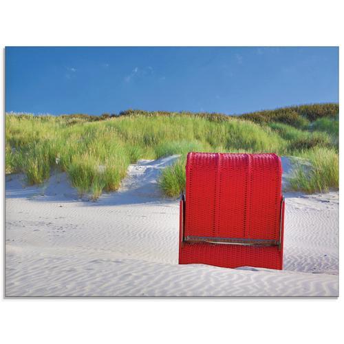 Artland Glasbild »Roter Strandkorb«, Strand, (1 St.)