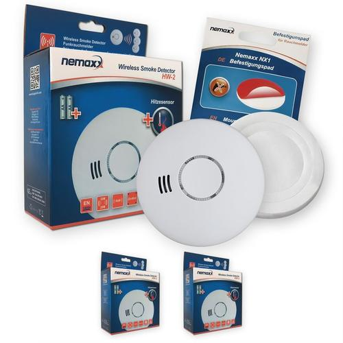 2x Nemaxx HW-2 Funkrauchmelder Rauchmelder Hitzemelder mit kombiniertem Rauch- und Thermosensor