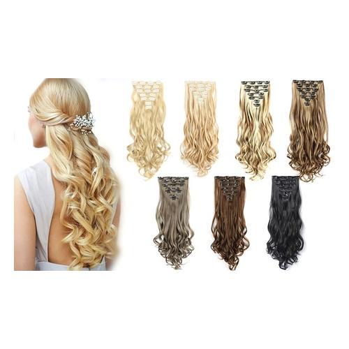 7er-Set Clip-in-Haarverlängerung: Grau mit Blond