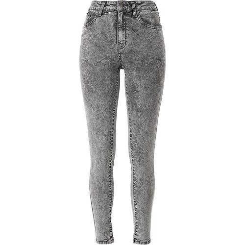 Urban Classics Ladies High Waist Skinny Jeans Damen-Jeans - grau