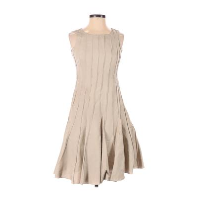 Calvin Klein Casual Dress - A-Line: Tan Solid Dresses - Used - Size 2
