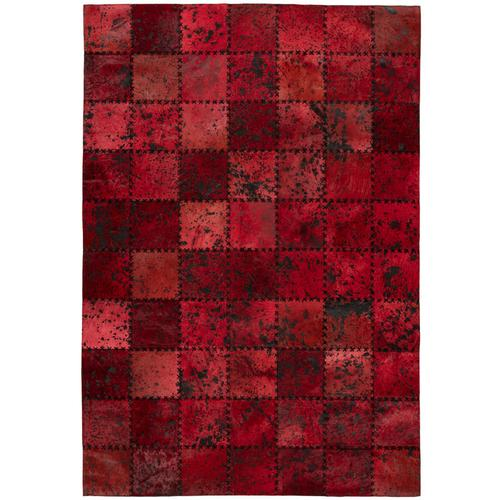 One Couture - Leder Patchwork Teppich Fell Teppiche Lederteppich Stitches Rot 160cm x 230cm