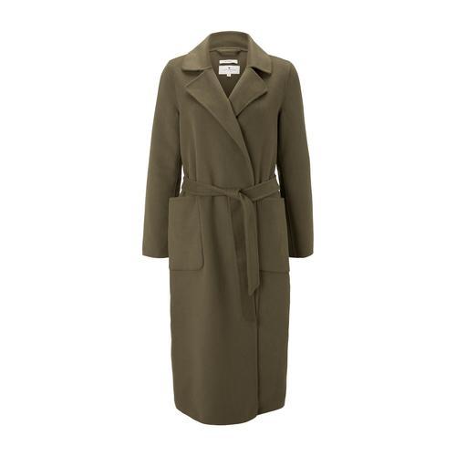 TOM TAILOR Damen Langer Mantel mit Bindegürtel, grün, Gr.M