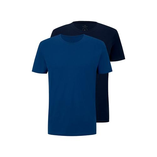 TOM TAILOR Herren Basic T-Shirt im Viererpack, blau, Gr.L