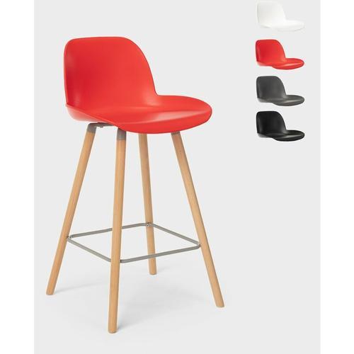 Hocker für Bar und Küche mit Holzbeinen Im Eiffel-Design und Rücken 65 cm Burj   Rot