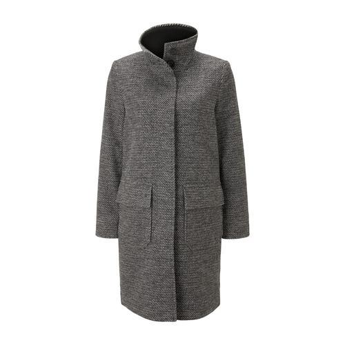 TOM TAILOR Damen Mantel aus Tweed mit Stehkragen, grau, Gr.L