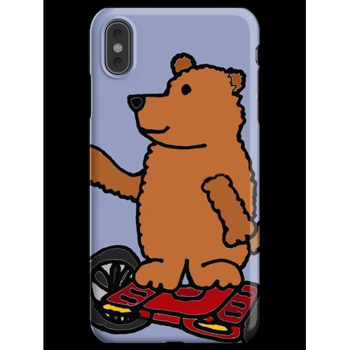 Lustiger kühler Brown-Bär auf motorisiertem Skateboard Hoverboard iPhone XS Max Handyhülle