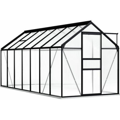 Gewächshaus mit Fundamentrahmen Anthrazit Aluminimum 8,17 m³