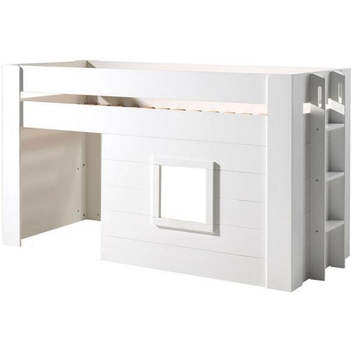 Hochbett Francis Vipack Hütten-Design inkl. Rolllattenrost aus hochwertigem MDF Holz weiß in 90*200