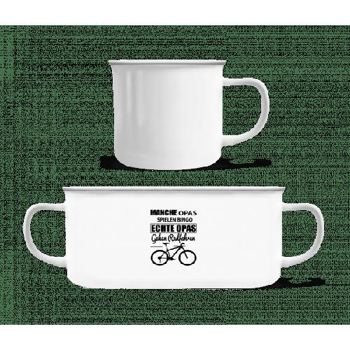Opa Radfahren - Emaille-Tasse