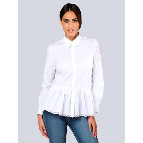 Alba Moda, Bluse mit angesetzter Faltenlage, weiß