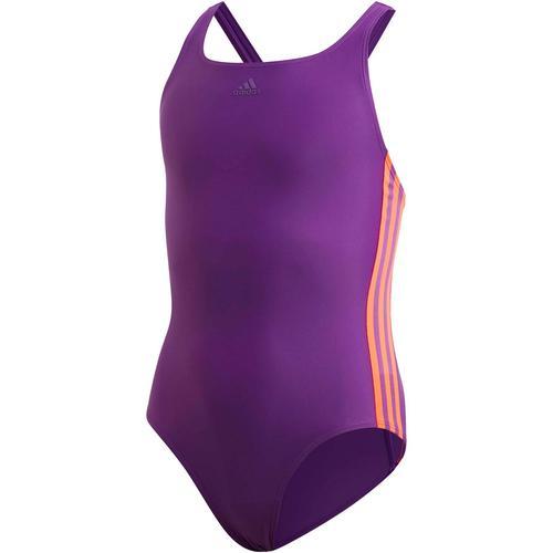 adidas 3 STRIPES Badeanzug Mädchen in glory purple-app solar red, Größe 140