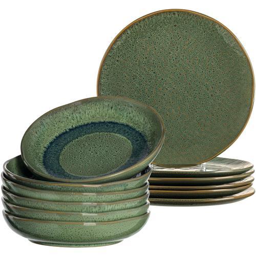 LEONARDO Tafelservice Matera, (Set, 12 tlg.), rustikaler Look grün Geschirr-Sets Geschirr, Porzellan Tischaccessoires Haushaltswaren