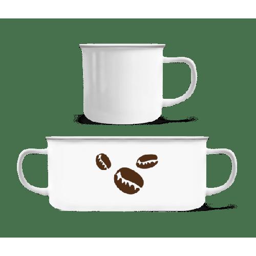 Kaffeebohnen - Emaille-Tasse