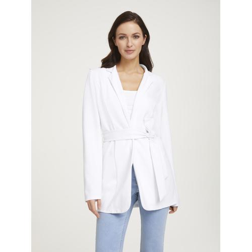 Blazer mit Bindegürtel weiß Damen Anzüge