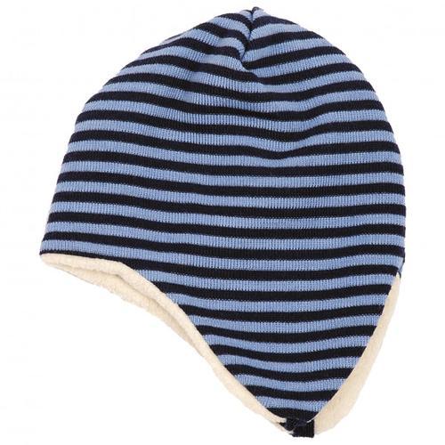 Reiff - Kid's Ohrenmütze Ringel Gr 46/48 schwarz/blau/grau