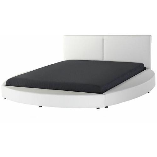 Beliani - Wasserbett Leder Weiß 180 x 200 cm Doppelbett Unterteilte Kopfteil Rund Laval