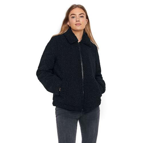 Noisy May Gabi Short Teddy Jacket Damen-Winterjacke - schwarz