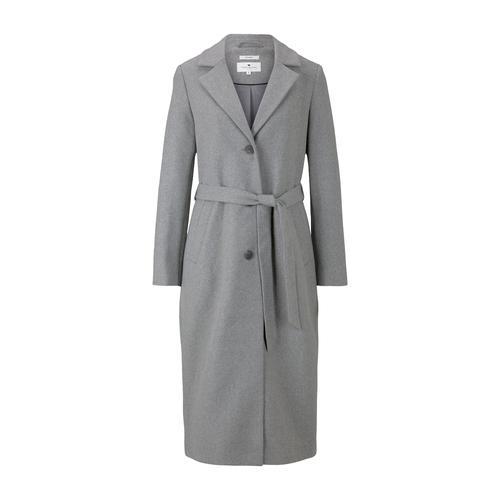 TOM TAILOR Damen Langer Mantel mit Bindegürtel, grau, Gr.XL