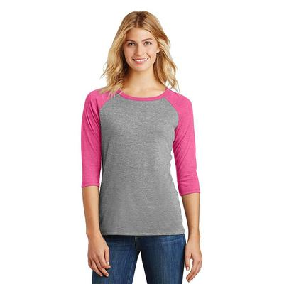 District DM136L Women's Perfect Tri 3/4-Sleeve Raglan T-Shirt in Fuchsia Frost/Grey Frost size Large | Triblend