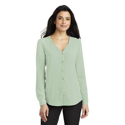 Port Authority LW700 Women's Long Sleeve Button-Front Blouse in Misty Sage size XS | Polyester