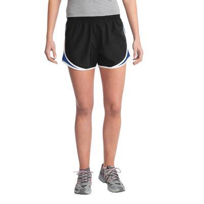 Sport-Tek LST304 Women's Cadence Short in Black/True Royal/White size Small   Polyester