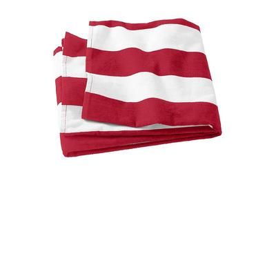 Port Authority PT43 Cabana Stripe Beach Towel in Red size OSFA   Cotton