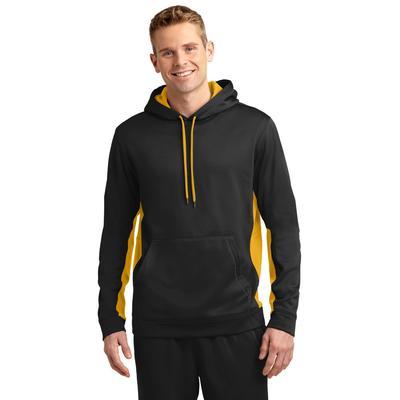 Sport-Tek ST235 Sport-Wick Fleece Colorblock Hooded Pullover T-Shirt in Black/Gold size 4XL   Polyester