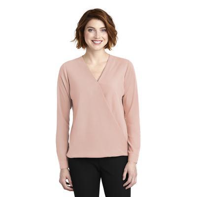 Port Authority LW702 Women's Wrap Blouse in Rose Quartz size XL | Polyester