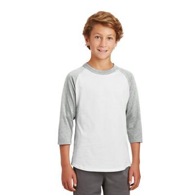 Sport-Tek YT200 Youth Colorblock Raglan Jersey T-Shirt in White/Heather Grey size Large   Cotton