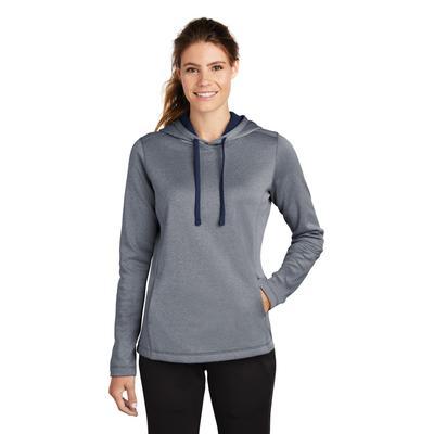 Sport-Tek LST264 Women's PosiCharge Sport-Wick Heather Fleece Hooded Pullover T-Shirt in True Navy Blue size 2XL | Polyester