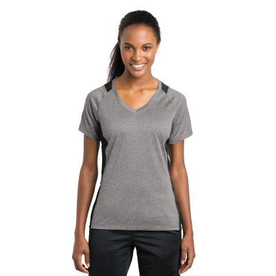 Sport-Tek LST361 Women's Heather Colorblock Contender V-Neck Top in Vintage Heather/Black size Large