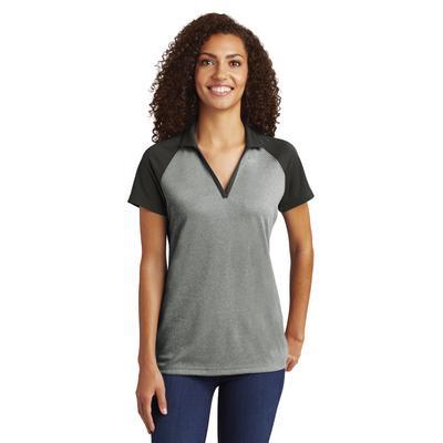 Sport-Tek LST641 Women's PosiCharge RacerMesh Raglan Heather Block Polo Shirt in Grey Heather/Black size 2XL   Polyester