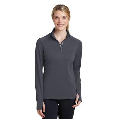 Sport-Tek LST860 Women's Sport-Wick Textured 1/4-Zip Pullover T-Shirt in Iron Grey size 3XL | Polyester