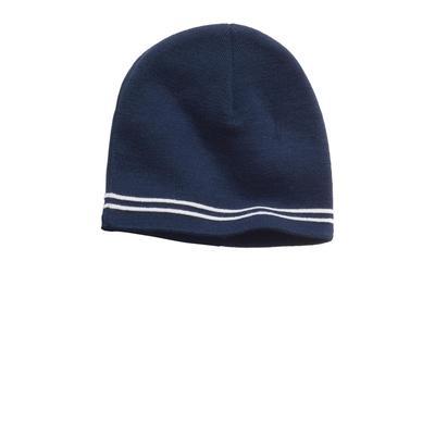 Sport-Tek STC20 Spectator Beanie Hat in True Navy Blue/White size OSFA   Acrylic
