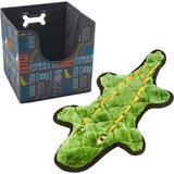 Paw Prints Word Design Collapsible Pet Storage Bin & Frisco Flat Plush Squeaking Alligator Dog Toy, Medium