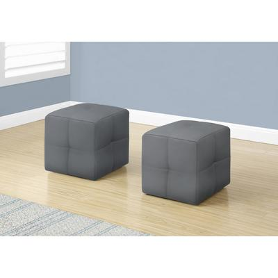 Ottoman In Grey Leather-Look (2Pcs Set) - Monarch Specialties I-8166