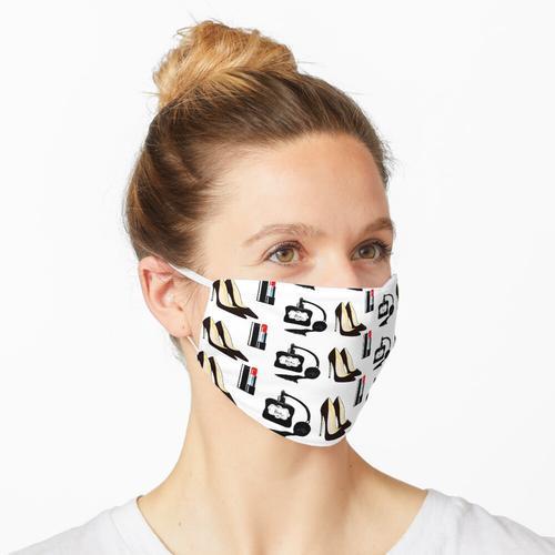 Muster mit Damenschuhen, Lippenstift, Parfüm Maske