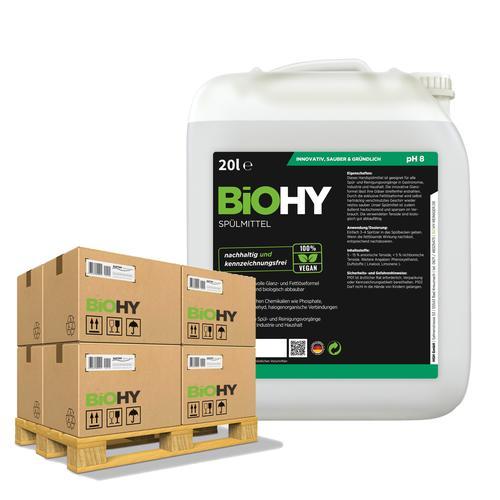 BiOHY Spülmittel (24x20l Kanister)   Frei von schädlichen Chemikalien & biologisch abbaubar   Glanz- & Fettlöseformel
