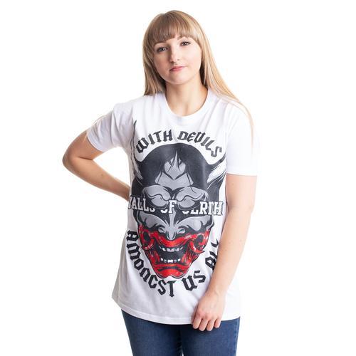 Walls Of Jericho - Devilmask White - - T-Shirts