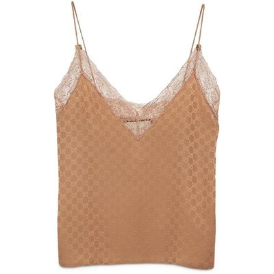 GG Silk And Lace Lingerie Top - Brown - Gucci Tops
