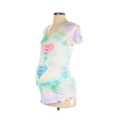 Isabel Maternity Short Sleeve T-Shirt: White Tie-dye Tops - Size Small Maternity