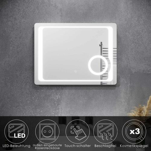 Badspiegel LED Touch mit Beleuchtung Beschlagfrei Kosmetikspiegel Steckdose 80x60cm - Sonni