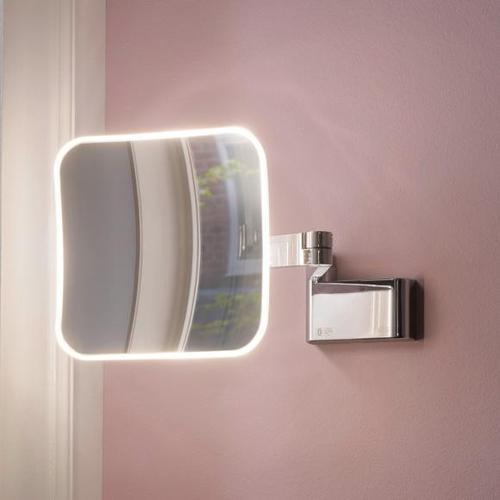 Emco Evo LED Rasier- und Kosmetikspiegel B: 209 H: 209 mm, mit Direktanschluss chrom 109506050, EEK: A+