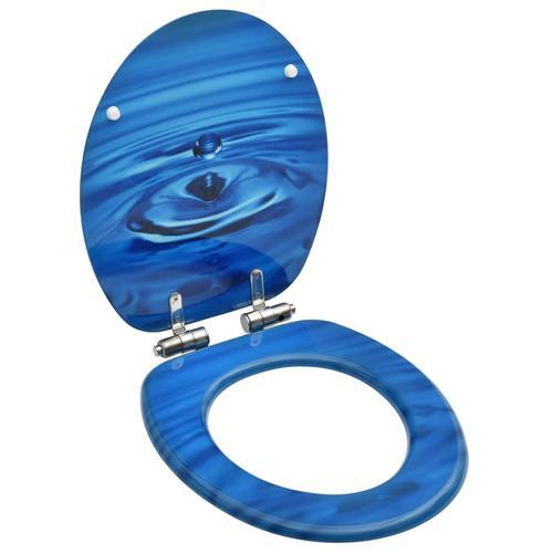 vidaXL Toilettensitz Soft-Close-Deckel MDF Blau Wassertropfen-Design