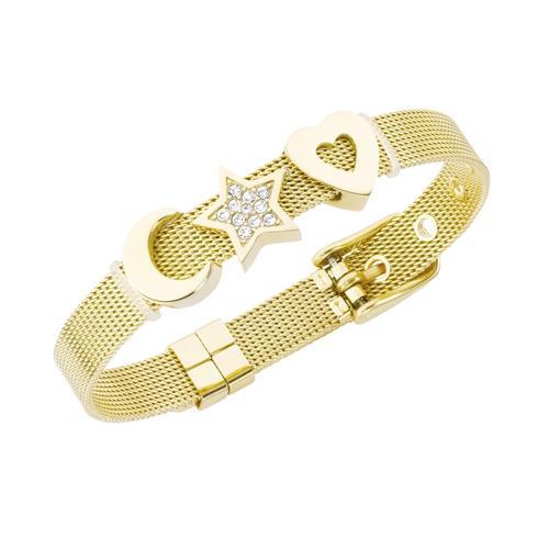 Jacques Charrel Armband Milanaise mit Kristallsteinen Mond, Stern, Herz goldfarben Damen Armketten Armbänder Schmuck