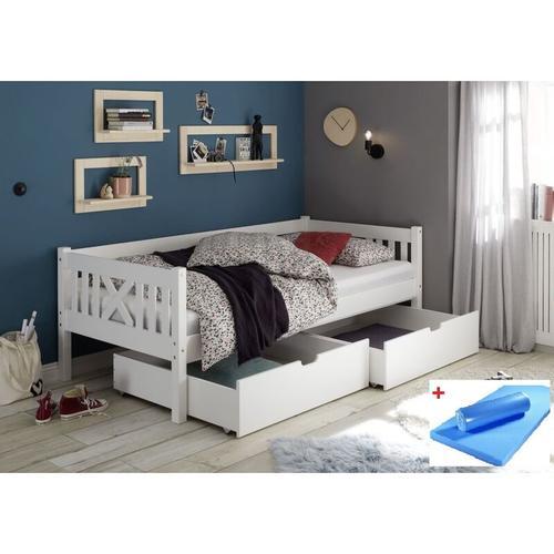 Pfostenbett Trevi 90*200 cm Kiefer massiv weiß Bett mit 2 Bettkästen Matratze (blau)