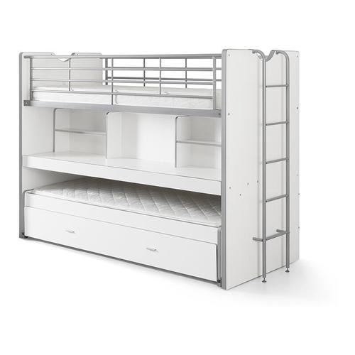 Etagenbett Eva 3er Bett mit ausziehbarer Schreibplatte + Bettkasten + 2 Lattenrostplatten weiß