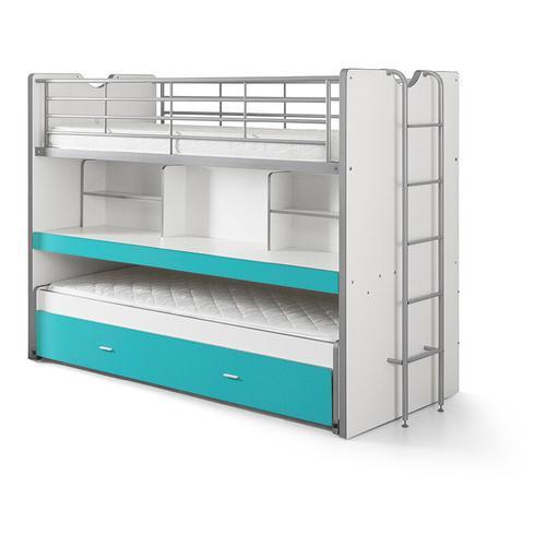 Etagenbett Eva 3er Bett mit ausziehbarer Schreibplatte + Bettkasten + Lattenrostplatten weiß türkis