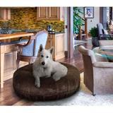 Bessie + Barnie Signature Short Shag Luxury Extra Plush Faux Fur Bagel Dog & Cat Bed, Brown, Large